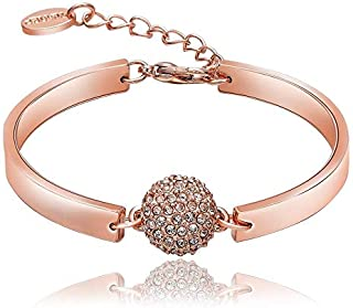 Swarovski elements 18K rose gold plated lady diamond bangle bracelet