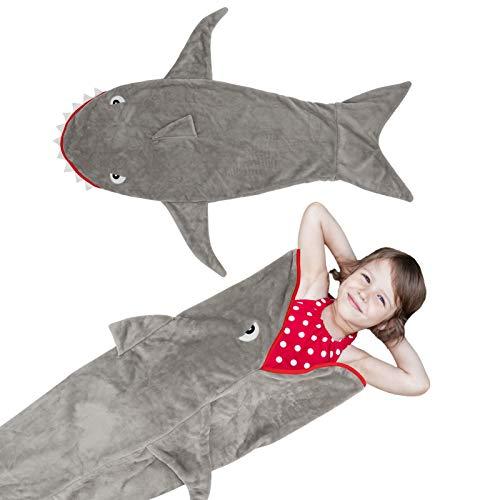 Brynnl - Saco de dormir para niños, franela, para bebés, recién nacidos, con forma de tiburón, de dibujos animados, suave, de una pieza, diseño de franela, para bebés, para niños y niñas