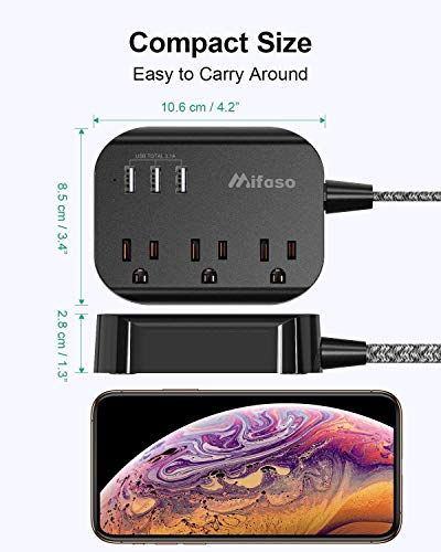 Power Strip with USB, Mountable Flat Plug Power Strip with 3 Outlets 3 USB Ports(Smart 3.1A), 5ft Braided Extension Cord, Compact for Cruise Ship, Travel, Home, Office 5
