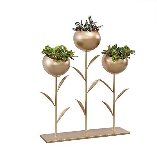 GJX-Stand de Fleurs Étagère De Fleur Support De Pot De Fleur Métal Intérieur Balcon Support De Plante Décoration Extérieure,Or