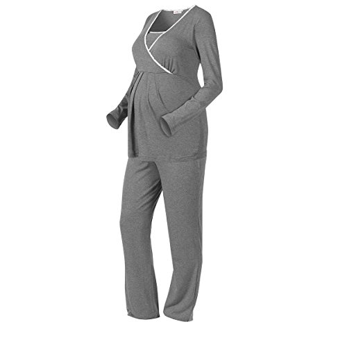 2HEARTS Umstands- & Still-Pyjama We Love Basics/Umstandsmode Damen/Stillschlafanazug Langarm/grau