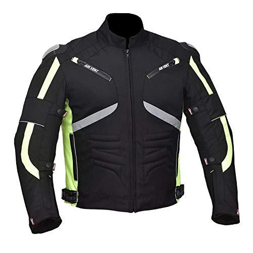 NORMAN Moto Cordura Hommes Veste Imperméable Textile Noir Ce Renforcé Vert/Noir - Vert/Noir, M