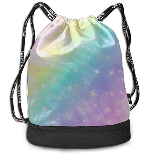 Best Backpack Colorful Smart Mermaid Rainbow Gym Drawstring Bags Backpack Sports String Bundle Backpack For Sport With Shoe Pocket Gym Tote Bag