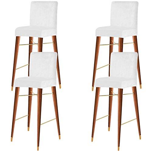 KELUINA Velvet Stretch Bar Stuhlbezüge mit Rückenlehne, elastischer Sitz Home Soft Chair Schonbezug Stuhlschutzbezüge, Esszimmerstuhlbezüge (Weiß,4er Set)