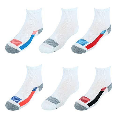 Hanes Boys' X-Temp Active Cool Ankle 6-Pack, White, Medium