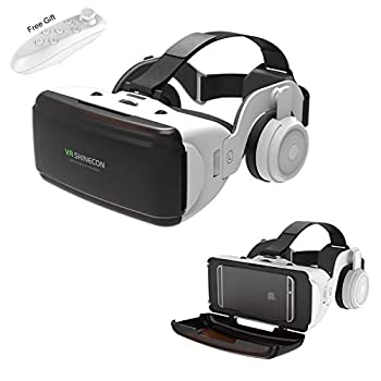 VR Headset for 3D IMAX Movie Video Game Virtual Reality Goggle w/ Headphone & Remote for iPhone 11 Pro XS XR X 8 7 6 S+ Samsung Galaxy A10e S10 S9 S8 S7 S6 Edge iOS Android Cellphone White VR Glass