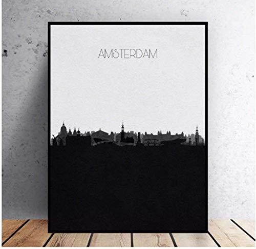 Jindongya Amsterdam Skyline su Tela Pittura Wall Art Foto Stampe Home Decor Poster da Parete Decorazione per Soggiorno(60 x 80 cm) -24 x 32 Pollici Senza Cornice