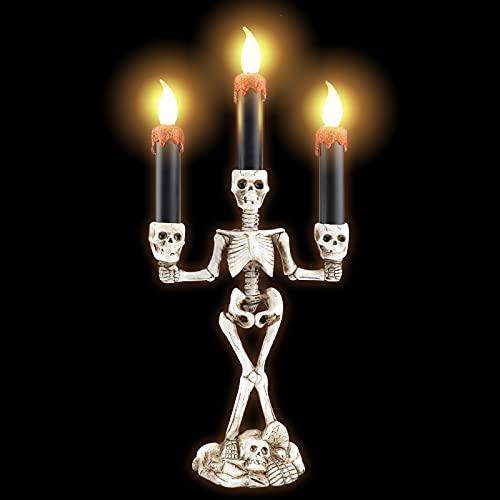 Candelabro de Halloween de 3 velas, candelabro de Halloween con soporte de luz Candelabro de calavera esqueleto Candelabro LED de esqueleto de Halloween Candelabros de luz para fiesta de Halloween