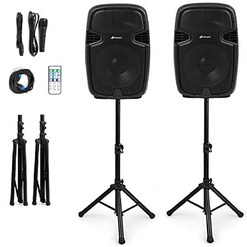 Sonart 2-Way Dual Powered PA Speaker System Set, Portable 15-Inch 3000W High Powered Loud DJ Active + Passive Speaker with Bluetooth, USB, SD Card Reader, Stands, Microphone, Wireless Remote Control