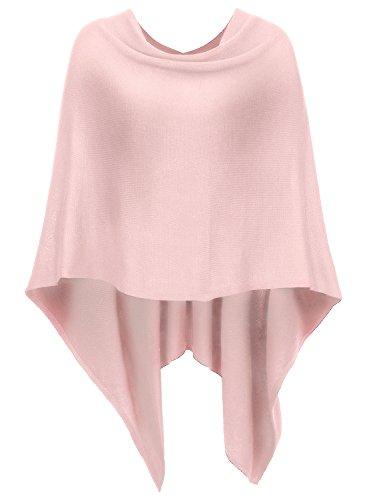 DJT Damen Poncho Tolles Accessoire Vorne Kurz Hinter Lang Design Umhange Pink One Size
