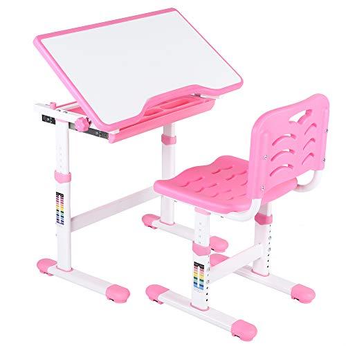 Cocoarm Kinderschreibtisch mit Stuhl und Schublade Höhenverstellbar Schülerschreibtisch Jugendschreibtisch Kindertisch mit Stuhl für Kinder Schüler Multifunktionale Schreibtisch Set Farbewahl (Rosa)
