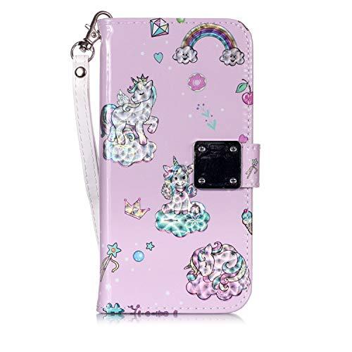 FNBK Kompatibel mit Samsung Galaxy S6 Hülle 3D Bunter Effekt Leder Brieftasche Case Metallschnalle Kartensteckplatz Schlüsselband Cover Regenbogen Einhorn
