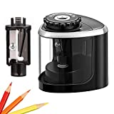 Pencil Sharpener Electric Pencil Sharpeners, Portable Pencil Sharpener Kids, Blade to Fast Sharpen, Suitable for No.2/Colored Pencils(6-8mm)/School Pencil Sharpener/Classroom/Office/Home (Black)