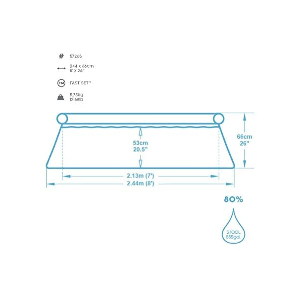 Bestway FastSet Pool Set Piscina Desmontable Autoportante, 244×66 cm