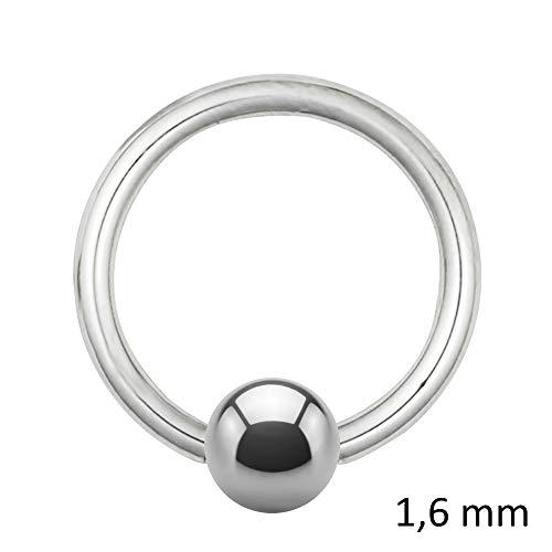 Treuheld Piercing Klemmring - Stahl - Silber - 1.6mm [08.] - 1.6 x 14 mm (Kugel: 5mm)