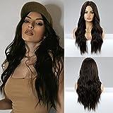 HAIRCUBE Peluca larga y rizada de color marrón Pelucas para mujeres de separación media Pelucas sintéticas Pelucas naturales onduladas para mujeres Cosplay diario ...