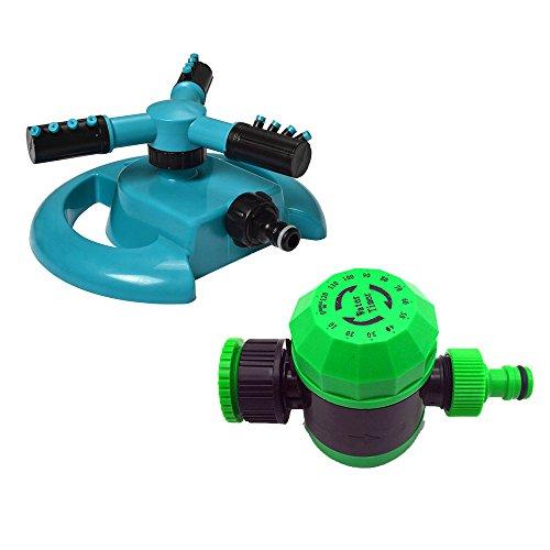 NUZAMAS 3アームスプリンクラーとウォータータイマータイマーセット - 自動芝生散水システム360度回転スプリンクラー灌漑コントローラー最大120分