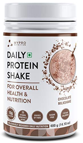 Mypro Sport Nutrition Daily Protein Shake 118 kcal Calories, 25 Vitamin,Minerals & Herbs, Provide Energy, Support Immunity & bone Health -Serving -40- For Men & Women Chocolate Milk Shake Flavor For 400Gm