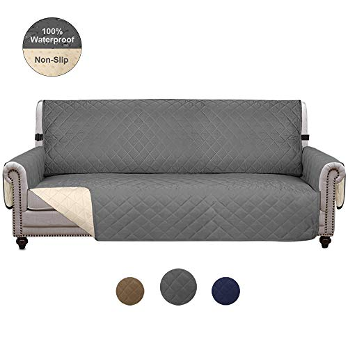 Wonwo Waterproof Sofa Cover Couch Cover Sofa Slipcover Non-Slip Furniture Protector Cover for Dog Cat Pet Kids with Elastic Strap-Oversized, Grey