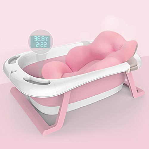 MOORRLII Bañera De Bebé con Termómetro, Baño De Bebé con Estera Antideslizante, Soporte para Niños Pequeños Recién Nacidos Plegables Portátiles para 0-8 Años,Pink