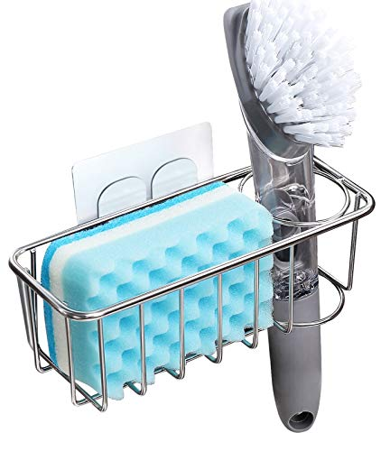 Product Image of the Adhesive Sponge Holder + Brush Holder, 3-in-1 Sink Caddy, SUS304 Stainless Steel Rust Proof Water Proof, No Drilling