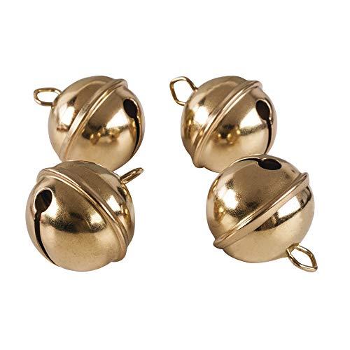 RAYHER 2503406 Metallglöckchen, kugelförmig, SB-Btl, 4 Stück, 29 mm Durchmesser, gold