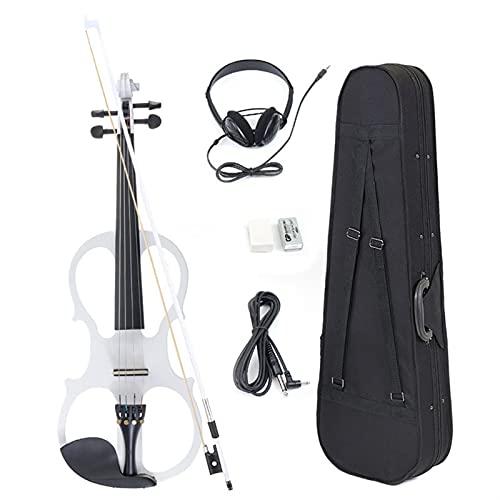 ANTENM 4 4 Violín eléctrico Fiddle Instrumento de Cuerda Basswood con Accesorios Caja de Auriculares for los Amantes de la música Principiantes (Color : White)
