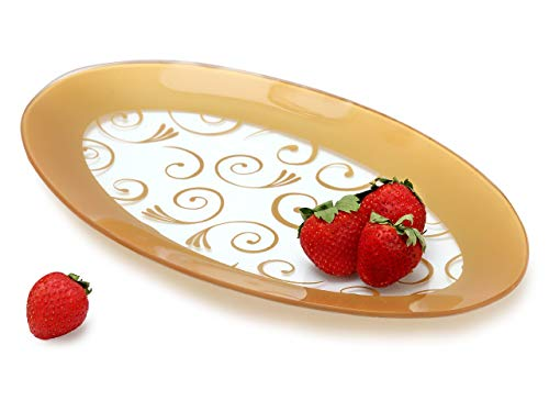 GAC Tempered Glass Oval Platter Serving Tray and Decorative Plate