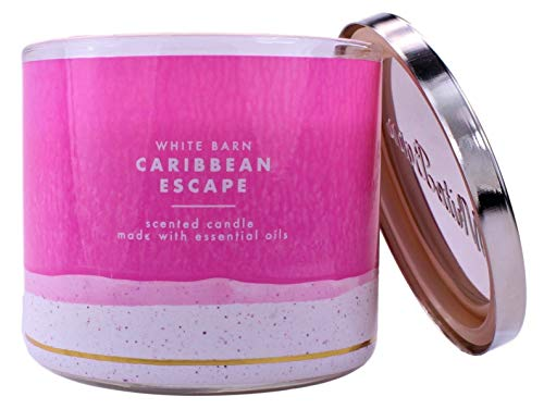 Bath & Body Works White Barn Caribbean Escape 3 Wick Scented Candle with Essential Oils 14.5 oz / 411 g
