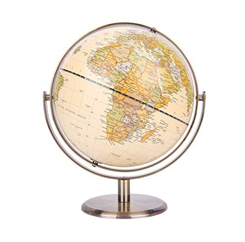 "Exerz 8"" / 20cm World Globe Antique Globe Metal Arc and Base Bronzed Color - All Direction 360° Rotating - Educational/Geographic/Modern Desktop Decoration - for School, Home, and Office (720°)"