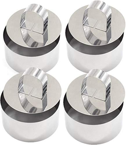 Cercles De Présentation,4 Emporte-Pièces Ronds Avec Poussoir -Acier Inoxydable,Moule à Cake DIY Moule à Gâteau Nourriture Cuisson Présentation Anneaux
