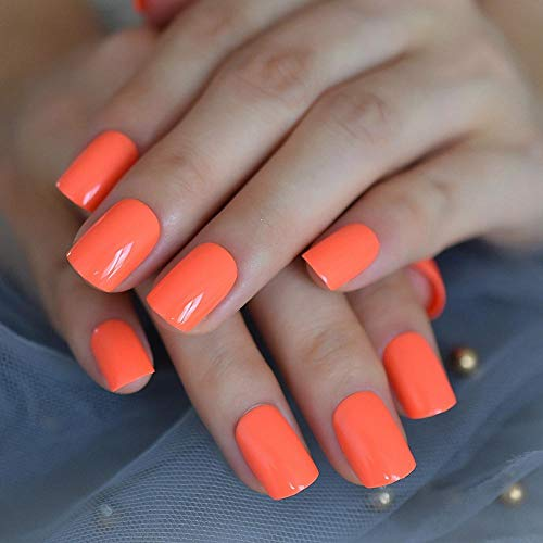 TJJF Neon Fake Nails Short For Daily Wear Square Natural Shape Glossy Gel Nails Orange Pink Simple Tips With Adhesive