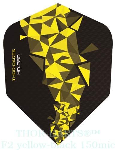 THOR-DARTS®™ Exclusiv-Line: 150 Micron F2 Darts Flights HD-280 schwarz Dart Flys extra Lange haltbar Thickness 150 mic Ultra Strong (30 Stück (10 Set), gelb/Yellow)