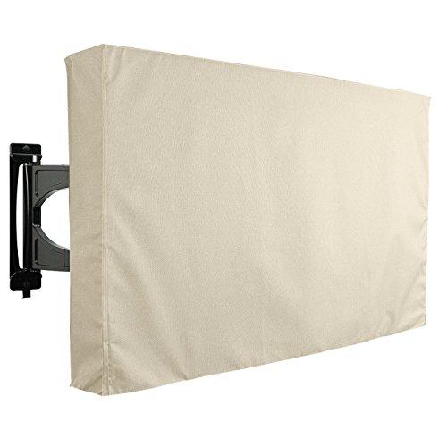 KHOMO GEAR Hülle Bezug für Fernsehen Wetterfestes Cover für TV Schutz für den Maßen 65 66 67 68 69 70 Zoll für LCD, LED, OLED und Plasmageräte Kompatibel mit Standardständern - Beige 65-70