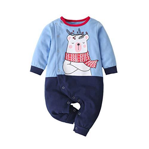 Livoral Säuglingsbaby Mädchen Lange Hülsen Nette Karikatur Bier Spielanzug Overall Kleidung(#3 Blau,3-6 Monate)