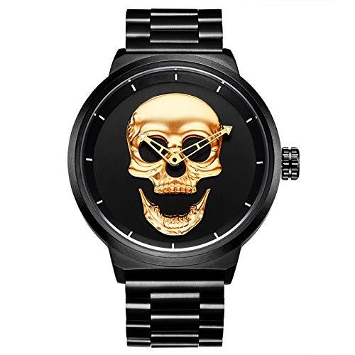 CXJC Personalidad Skull Hollow Pointer Sports Reloj Deportivo, Reloj de Hombre Shi Ying de Dos Pines, Reloj a Prueba de Agua del Acero Inoxidable de los Hombres (Color : Oro)