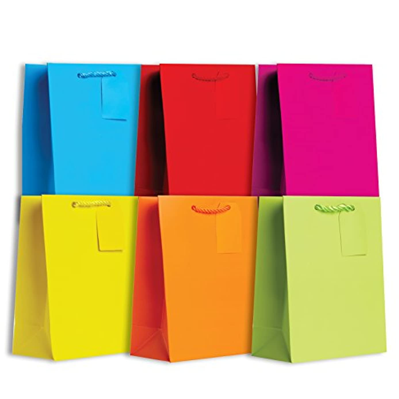 Jillson Roberts 6-Count Medium All-Occasion Solid Color Gift Bags Available in 4 Different Assortments, Bold and Bright