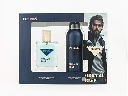 Privata -Organic Blue Estuche de Regalo para Hombre, Eau de Toilette 75 ml y Desodorante en Spray 200 ml