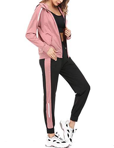 Aibrou Conjunto Chándal de Mujer Sudadera con Cremallera y Pantalones, Trajes de 2 Piezas Deporta Moda de Manga Larga Ropa de salón Corredores, (Rosa Roja, S)