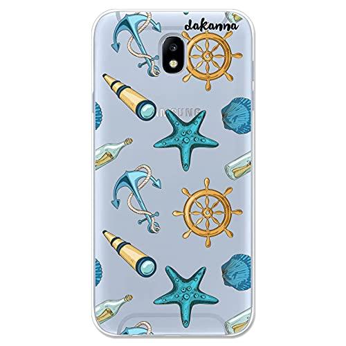 dakanna Funda Compatible con [ Samsung Galaxy J7 2017 ] de Silicona Flexible, Dibujo Diseño [ Estampado de Figuras náuticas ], Color [Fondo Transparente] Carcasa Case Cover de Gel TPU para Smartphone