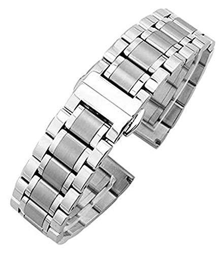 Beapet Watch Strap 18mm - 24mm Metal Watchbands Bracelet Women Silver Solid Stainless Steel Watch Band Strap Accessories Bracelet (Color : Silver, Size : 18mm)