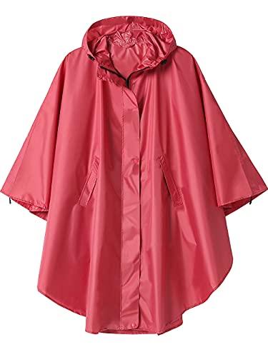Poncho Impermeable Reutilizable Adulto Unisex Chubasquero Capa de Lluvia Nieve Rojo Vino Sólido
