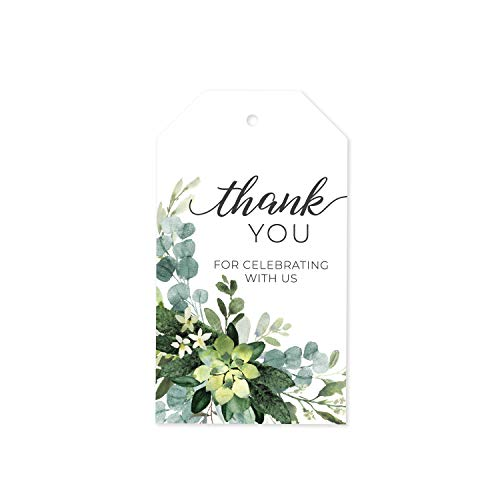 100 Lush Greenery Favor Thank You Tags/Thank You for Celebrating with us Wedding Favors