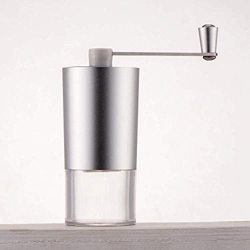 WYJW Manuelle Aluminium Handkurbel Design Kaffeemühle für Kaffeebohnen Pfeffer und Gewürze Salz Pfeffermühle Kochwerkzeuge, grau