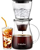 Mueller QuickBrew Smooth Cold Brew Coffee and Tea Maker 47 oz, Dripper Iced Coffee Brewer Maker with Adjustable Water Flow, Stainless Steel Filter, Borosilicate Glass Carafe