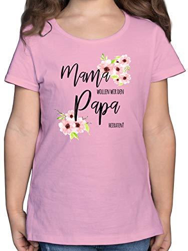 Anlässe Kinder - Mama wollen wir den Papa heiraten Blumen - 140 (9/11 Jahre) - Rosa - sprüche Tshirt Hochzeit - F131K - Mädchen Kinder T-Shirt