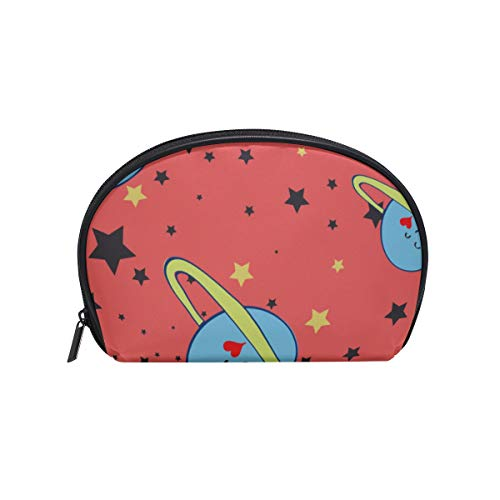 Shell Shape Ladies Toiletry Bag Cute Outer Space Cartoon Spaceship Print Stylish Toiletry Bag Best Makeup Organizer Portable Travel Multifunction Storage Bag With Zipper For Women