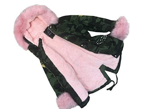 cocomini Winterjacke für Mädchen Parka Camouflage warme Jacke mit rosa Plüschfutter Expressversand mit DPD (146/152)