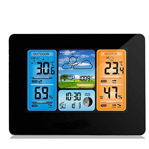 FHISD Estación meteorológica inalámbrica con Sensor Exterior, Fecha Hora Temperatura Humedad Monitoreo...