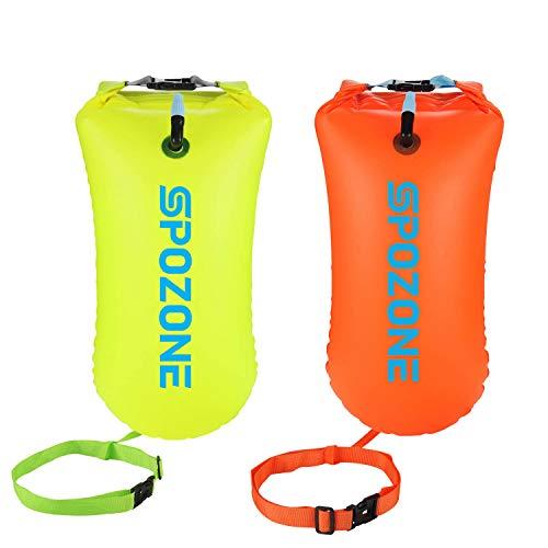 SPOZONE Boa Nuoto 20L Impermeabile Boa Gonfiabile, Galleggiante di Sicurezza per Sport Acquatici, Nuotatori in Acqua Aperta, Triatleti, Kayaker e Snorkeling (Orange & Yellow)